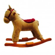 image of Woodalion Brown Puffy Horse Infant Rocker