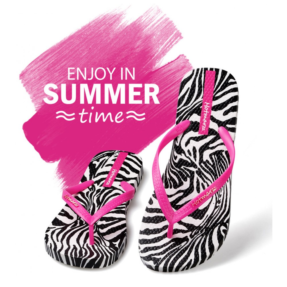 Hotmarzz Women Summer Beach Flat Sandals / Slippers / Flip Flops Zebra Print