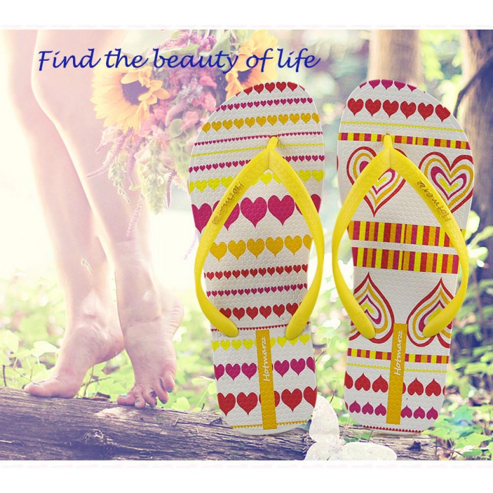Hotmarzz Women Summer Beach Flat Sandals / Slippers / Flip Flops Heart Love (Yellow)