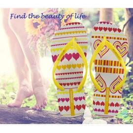 image of Hotmarzz Women Summer Beach Flat Sandals / Slippers / Flip Flops Heart Love (Yellow)