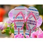Hotmarzz Women Summer Beach Flat Sandals / Slippers / Flip Flops Heart Love (Pink)