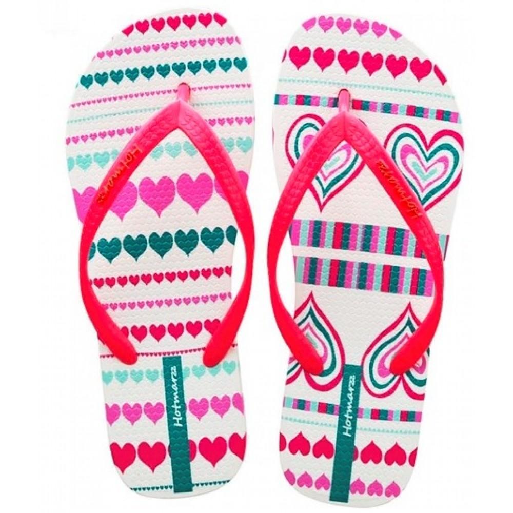 Hotmarzz Women Summer Beach Flat Sandals / Slippers / Flip Flops Heart Love (Red)