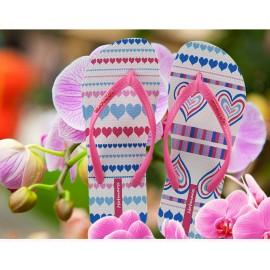 image of Hotmarzz Women Summer Beach Flat Sandals / Slippers / Flip Flops Heart Love (Pink)