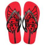 Hotmarzz Women Summer Beach Flat Sandals / Slippers / Flip Flops Butterfly Series (Red)