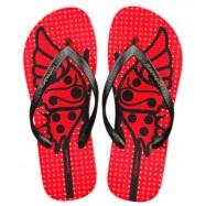 image of Hotmarzz Women Summer Beach Flat Sandals / Slippers / Flip Flops Butterfly Series (Red)