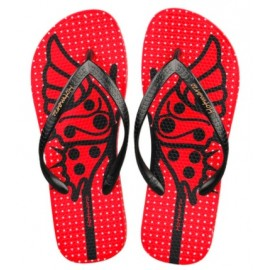 image of Hotmarzz Women Summer Beach Flat Sandals / Slippers / Flip Flops Butterfly Series (Red)