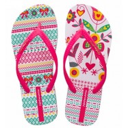 image of Hotmarzz Women Summer Beach Flat Sandals / Slippers / Flip Flops Flower Series (Rosy Red)
