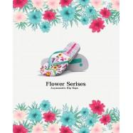 image of Hotmarzz Women Summer Beach Flat Sandals / Slippers / Flip Flops Flower Series (Light Green)