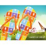 Hotmarzz Women Summer Beach Flat Sandals / Slippers / Flip Flops Ice Cream Print (Orange)