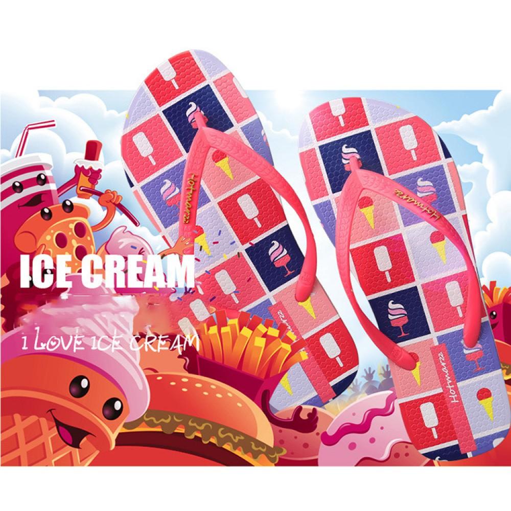 Hotmarzz Women Summer Beach Flat Sandals / Slippers / Flip Flops Ice Cream Print (Red)