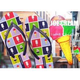 image of Hotmarzz Women Summer Beach Flat Sandals / Slippers / Flip Flops Ice Cream Print (Blue)