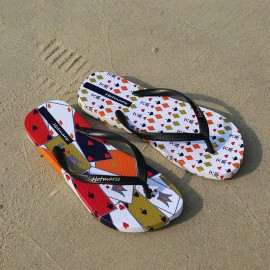 image of Hotmarzz Women Summer Beach Flat Sandals / Slippers / Flip Flops Printing Series (Black)