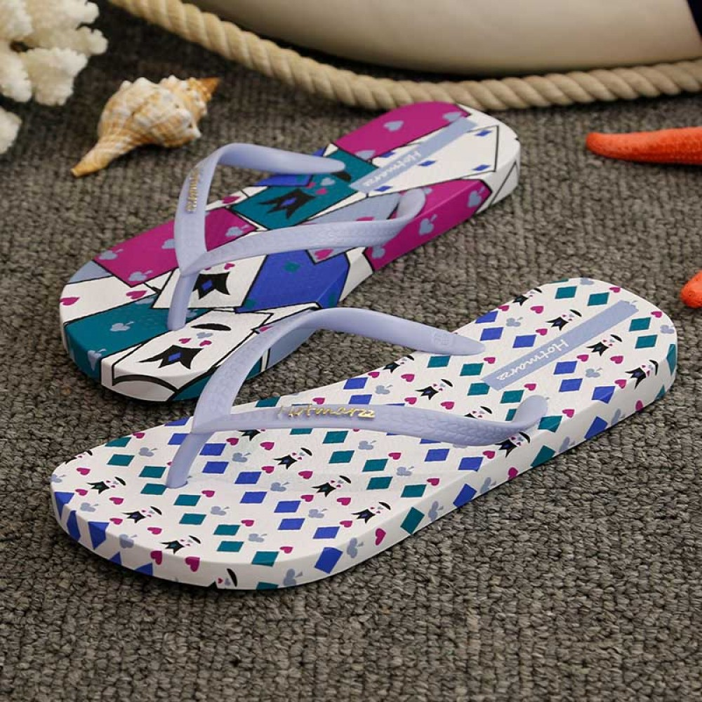 Hotmarzz Women Summer Beach Flat Sandals / Slippers / Flip Flops Printing Series (White)