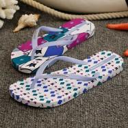 image of Hotmarzz Women Summer Beach Flat Sandals / Slippers / Flip Flops Printing Series (White)