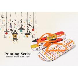 image of Hotmarzz Women Summer Beach Flat Sandals / Slippers / Flip Flops Printing Series (Orange)