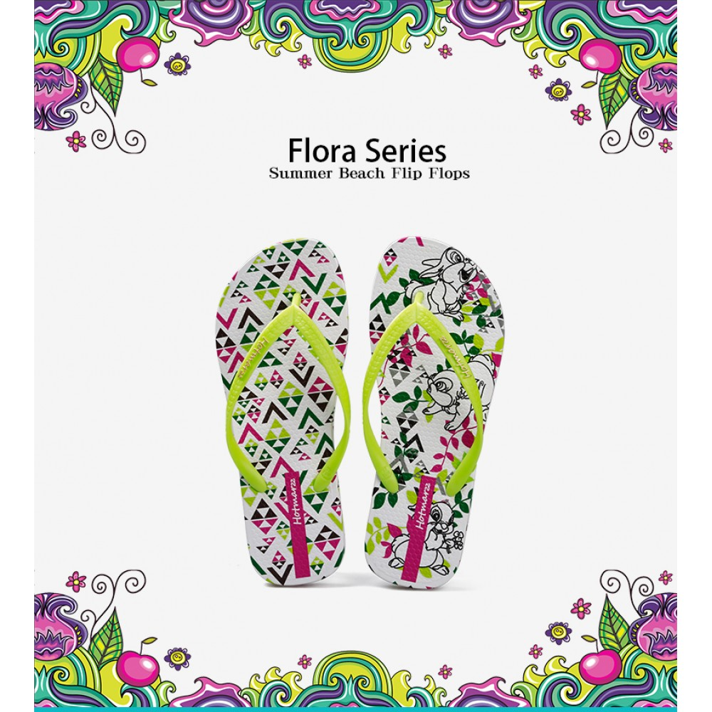 Hotmarzz Women Summer Beach Flat Sandals / Slippers / Flip Flops Flora Series (Easter Bunny)