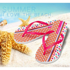image of Hotmarzz Women Summer Beach Flat Sandals / Slippers / Flip Flops Geometric Print