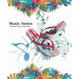 image of Hotmarzz Women Summer Beach Flat Sandals / Slippers / Flip Flops Piano Print