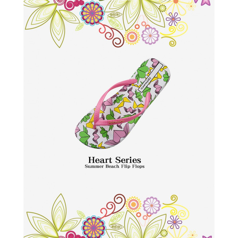 Hotmarzz Women Summer Beach Flat Sandals / Slippers / Flip Flops Heart Series (Pink)