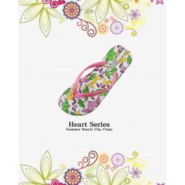 image of Hotmarzz Women Summer Beach Flat Sandals / Slippers / Flip Flops Heart Series (Pink)