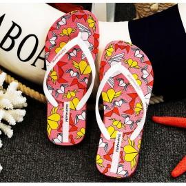 image of Hotmarzz Women Summer Beach Flat Sandals / Slippers / Flip Flops Heart Series (White)