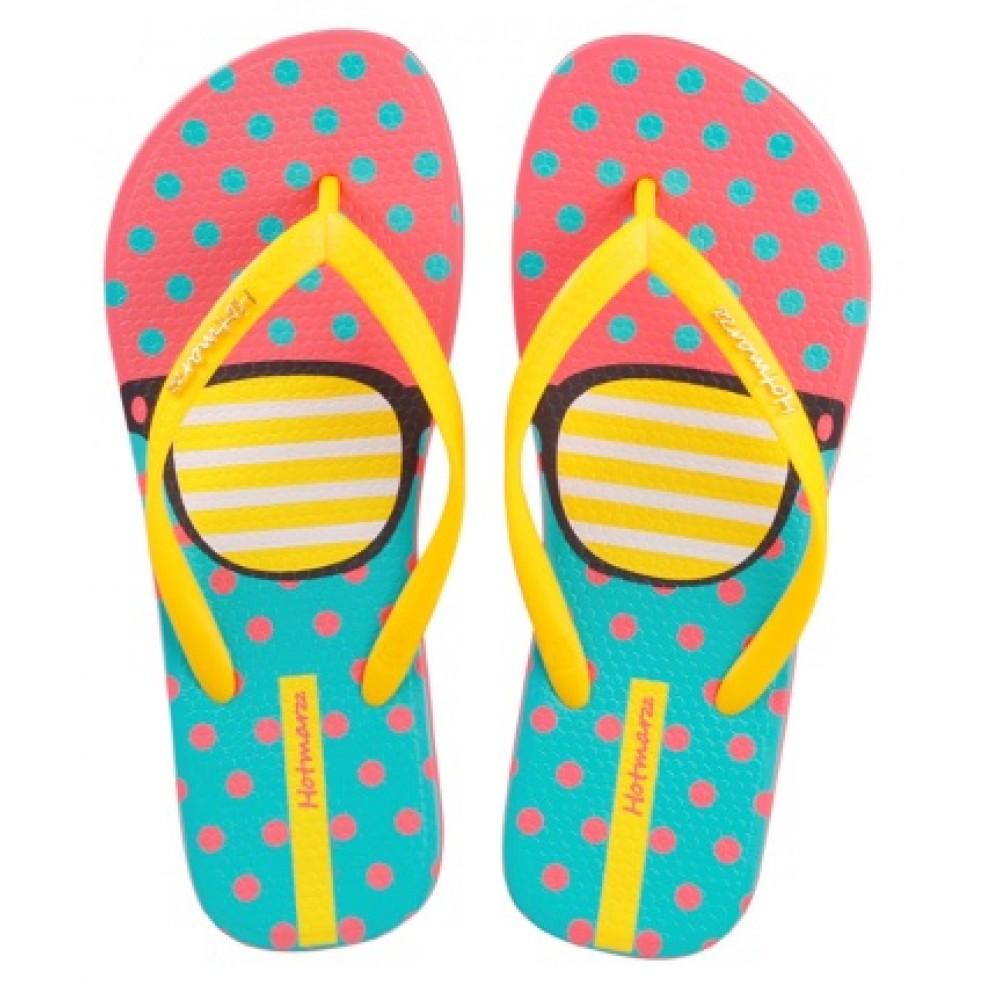 Hotmarzz Women Summer Beach Flat Sandals / Slippers / Flip Flops Glasses Print (Yellow)