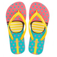 image of Hotmarzz Women Summer Beach Flat Sandals / Slippers / Flip Flops Glasses Print (Yellow)