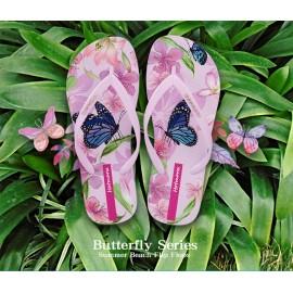 image of Hotmarzz Women Summer Beach Flat Sandals / Slippers / Flip Flops Butterfly Floral