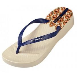image of Hotmarzz Women High Heel Platform Flip Flops / Wedges Slippers (Beige)