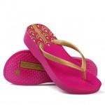 Hotmarzz Women High Heel Platform Flip Flops / Wedges Slippers (Rosy Red)