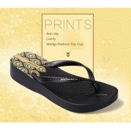 image of Hotmarzz Women High Heel Platform Flip Flops / Wedges Slippers (Black)