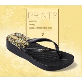 image of Hotmarzz Women High Heel Platform Flip Flops / Wedges Slippers (Black)