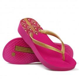 image of Hotmarzz Women High Heel Platform Flip Flops / Wedges Slippers (Rosy Red)