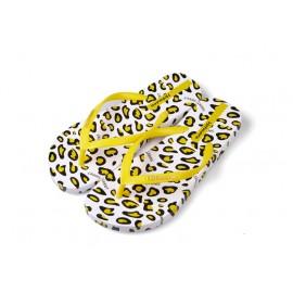 image of Hotmarzz Women Summer Beach Flat Sandals / Slippers / Flip Flops Leopard Print (Yellow)