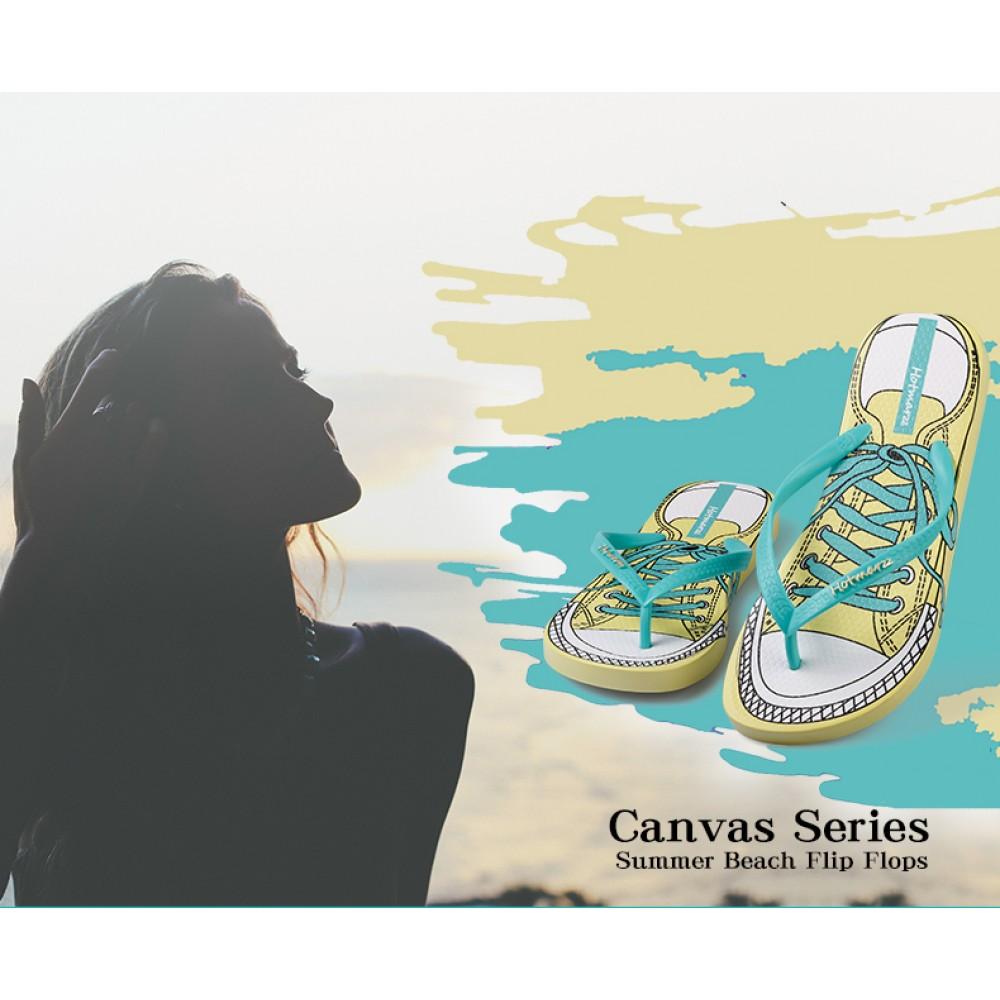 Hotmarzz Women Summer Beach Flat Sandals / Slippers / Flip Flops Canvas Series (Green)