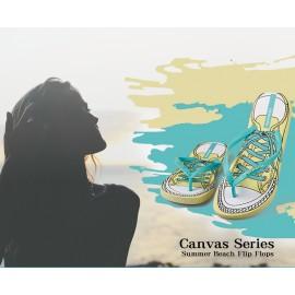 image of Hotmarzz Women Summer Beach Flat Sandals / Slippers / Flip Flops Canvas Series (Green)