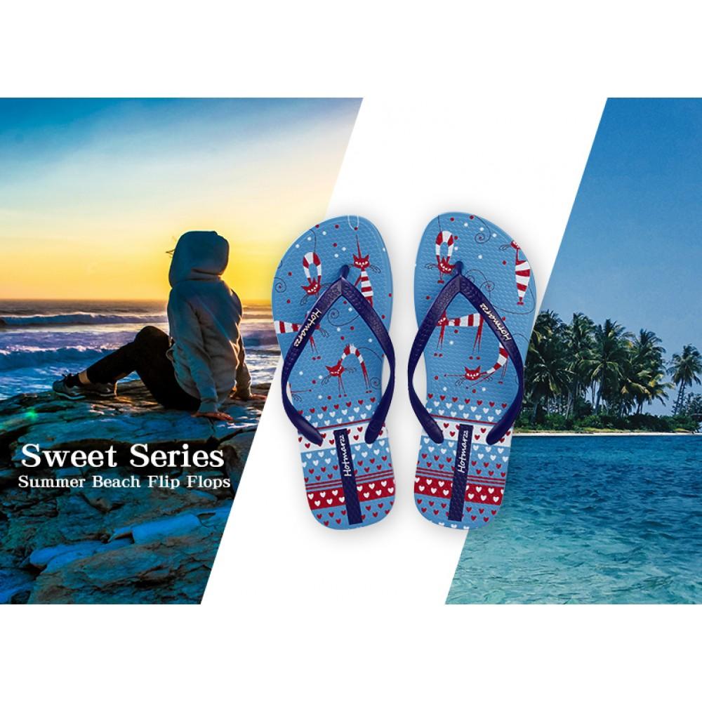 Hotmarzz Women Summer Beach Flat Sandals / Slippers / Flip Flops Sweet Series (Blue)