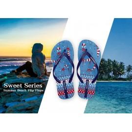 image of Hotmarzz Women Summer Beach Flat Sandals / Slippers / Flip Flops Sweet Series (Blue)