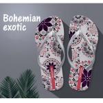 Hotmarzz Women Summer Beach Flat Sandals / Slippers / Flip Flops Bohemian Exotic (White)