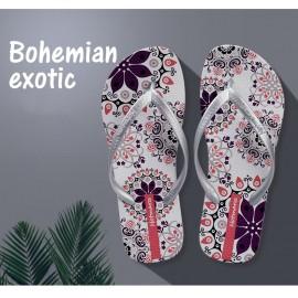 image of Hotmarzz Women Summer Beach Flat Sandals / Slippers / Flip Flops Bohemian Exotic (White)