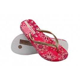 image of Hotmarzz Women Summer Beach Flat Sandals / Slippers / Flip Flops Bohemian Exotic (Red)