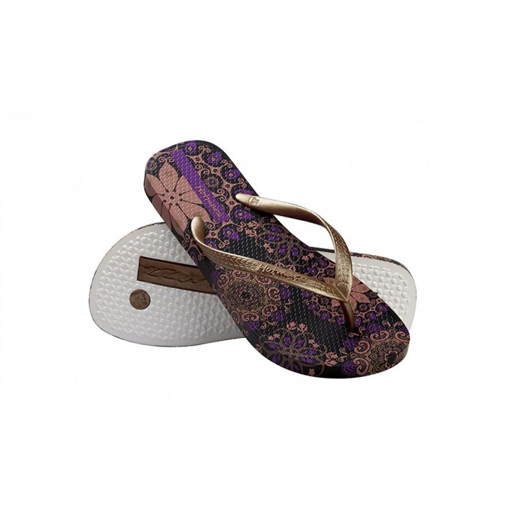 Hotmarzz Women Summer Beach Flat Sandals / Slippers / Flip Flops Bohemian Exotic (Purple)