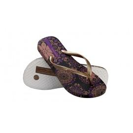 image of Hotmarzz Women Summer Beach Flat Sandals / Slippers / Flip Flops Bohemian Exotic (Purple)