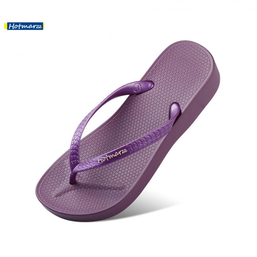 Hotmarzz Women Summer Beach Comfy Wedges Slippers (Purple)