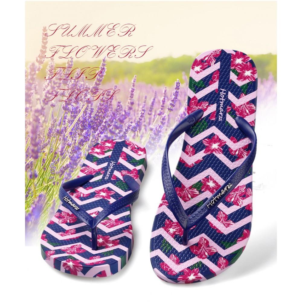 Hotmarzz Women Beach Flip Flop Summer Slippers (Purple Flower)
