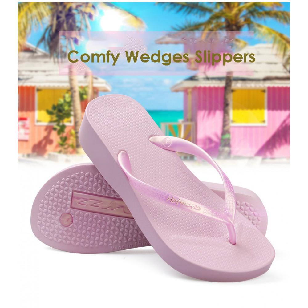 Hotmarzz Women Summer Beach Comfy Wedges Slippers (Pink)