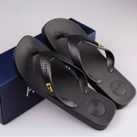 image of Hotmarzz Men Flip Flops Beach Flat Designer Slippers (Black)
