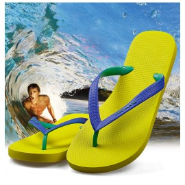 image of Hotmarzz Men Stylish Summer Beach Slippers  Flip Flops Flat Sandals (Yellow Base)