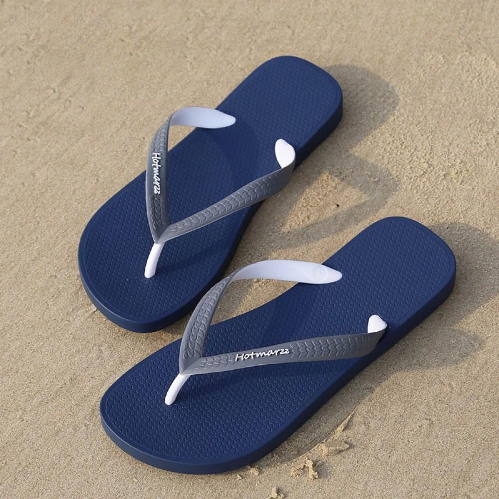 Hotmarzz Men Stylish Summer Beach Slippers  Flip Flops Flat Sandals (Blue Base)
