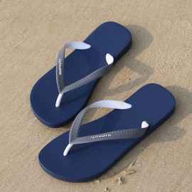 image of Hotmarzz Men Stylish Summer Beach Slippers  Flip Flops Flat Sandals (Blue Base)